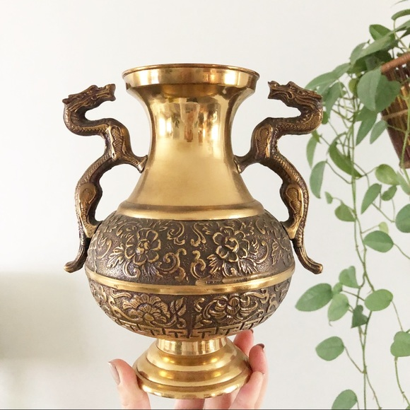 Brass Chinese Dragon Vase Urn Double Handle